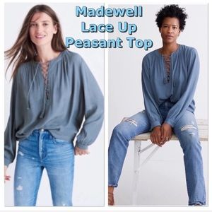 Madewell lace up peasant blouse/top in soft blue L